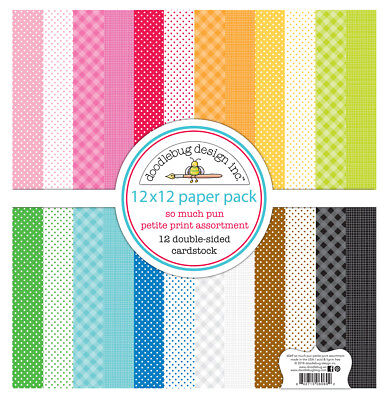 Scrapbooking Crafts 12x12 Paper Doodlebug Petite Print Plaid Dots So Much Pun Plaid Scrapbooking Paper