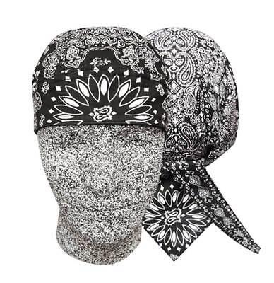 Black Paisley Doo Rag Head Wrap Durag Bandanna Cap Sweatband Capsmith - Paisley Doo Rag