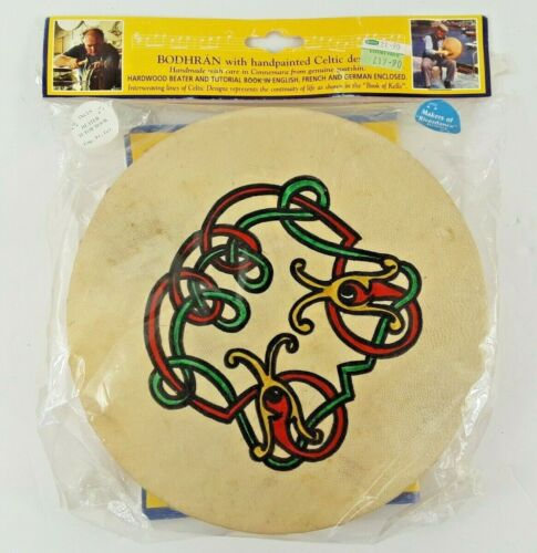 "Roundstone Music Handpainted Celtic Design 8"" Wood & Goatskin Bodhran -Sealed"
