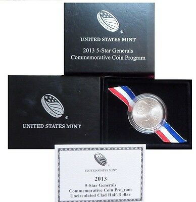 2013 D 5 STAR GENERALS COMMEMORATIVE CLAD HALF DOLLAR IN US MINT OGP COA