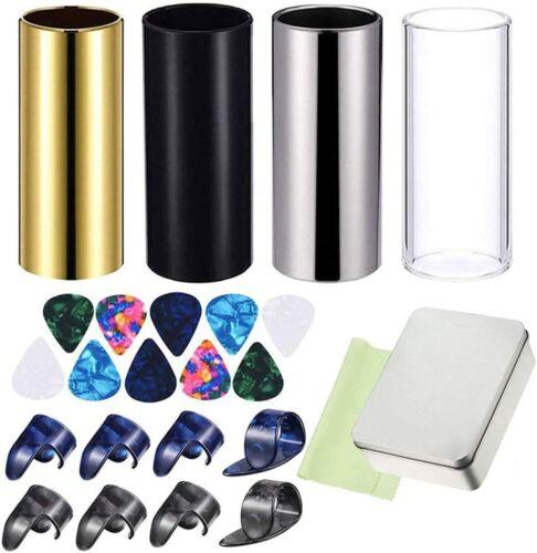 24 Pcs Guitar Slides kits, Medium Guitar Slides, Guitar Picks, cleaning cloth