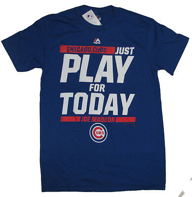 Chicago Cubs Mlb Just Play For Today Joe Maddon Royal Blue Playoffs T Shirt Nwt