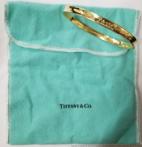 1837 18k Yellow Gold Tiffany Co 1997 Concave Bangle Bracelet 29.4g w Pouch