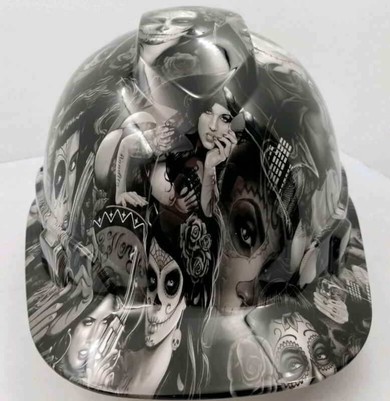 Hard Hat custom hydro dipped , OSHA approved TATTOO BABES NEW SUPER SICK