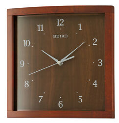 *BRAND NEW* Seiko Analog Dark Brown Wooden Case Wall Clock QXA675ZLH