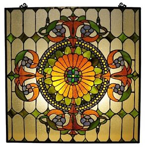 Victorian Style Stained Glass Window Panel 25 X 25 Inches Handcrafted New
