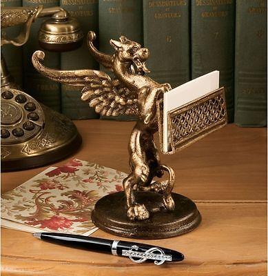 19th Century British Antique Replica Cast Iron Gryphon Business Card Holder
