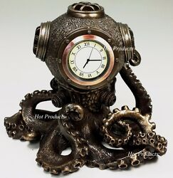 Nautical Steampunk Octopus Desk Clock Diving Helmet Statue Sculpture Bronze Colr