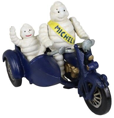 Michelin Man Motorbike Sidecar with Child Baby - Cast Iron Ornament - Michelin Baby