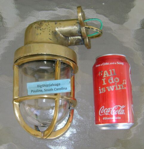 Salvaged Solid Brass Wall Mounted Nautical Light -NEW USA WIRING - POLISHED