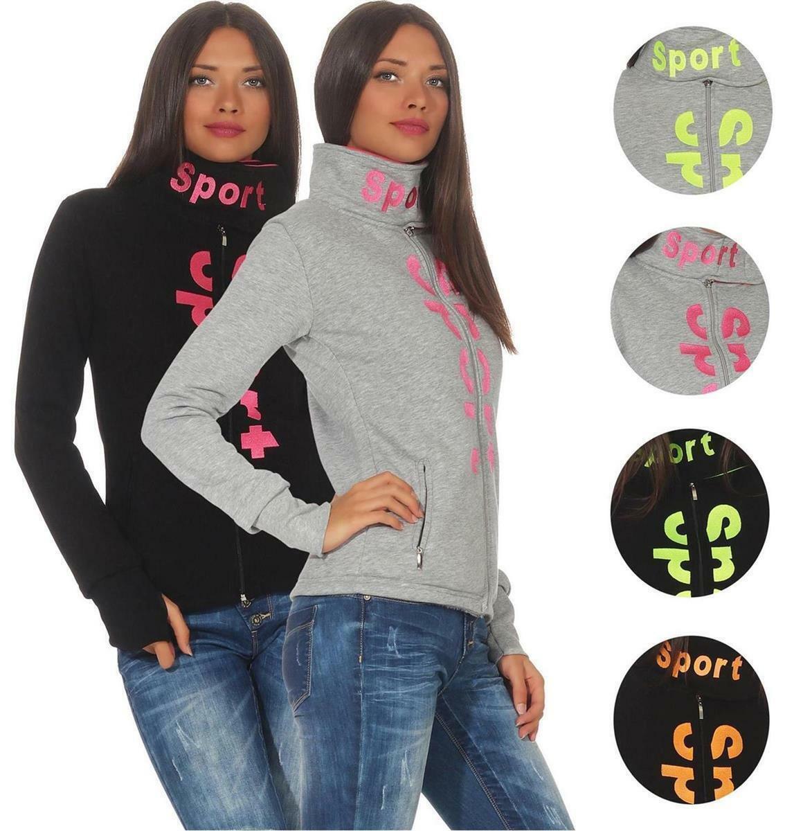 Italy Damen Sweat Jacke mit Kapuze Cardigan Langarm Oversize Blumen Print