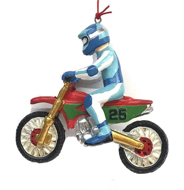 "Motocross Motorcycle Rider Ceramic Christmas Tree Ornament 4.25""x 4""x 1.5"""