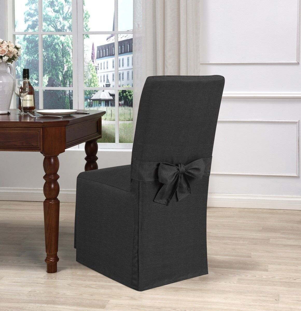Details about Madison Kathy Ireland Garden Retreat Dining Room Chair  Slipcover Charcoal