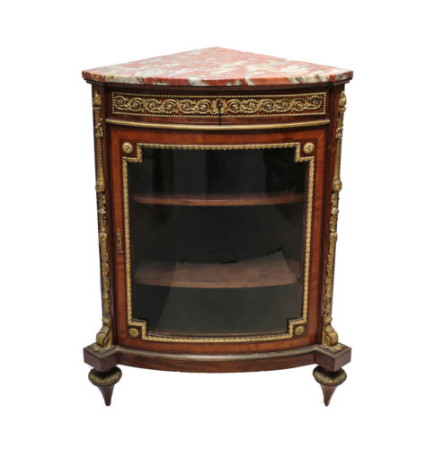Louis XVI Style Ormolu-Mounted Mahogony Corner Cabinet by Victor Raulin