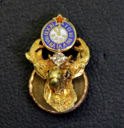 Nice 10K Gold Antique Elks Lodge w/ Diamond Fraternal Enameled Pin c. 1900