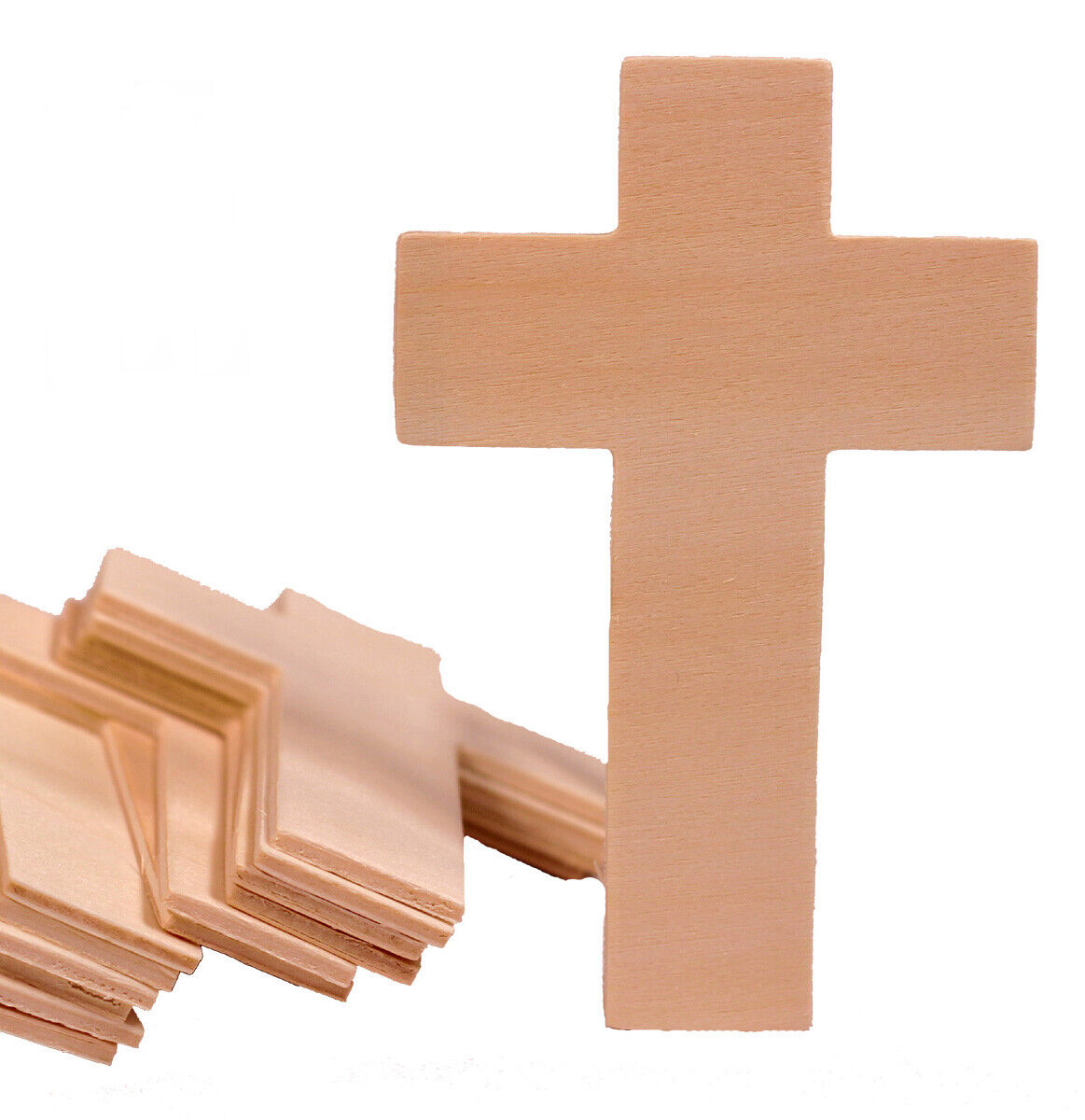 25 pack – Unfinished Wood Cross Shape Cutout Slices, 4.25 Inch, Wooden Craft DIY Crafting Pieces