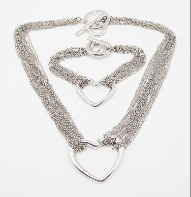 DESIGNER INSPIRED SILVER MULTI CHAIN HEART TOGGLE NECKLACE BRACELET JEWELRY SET  ()