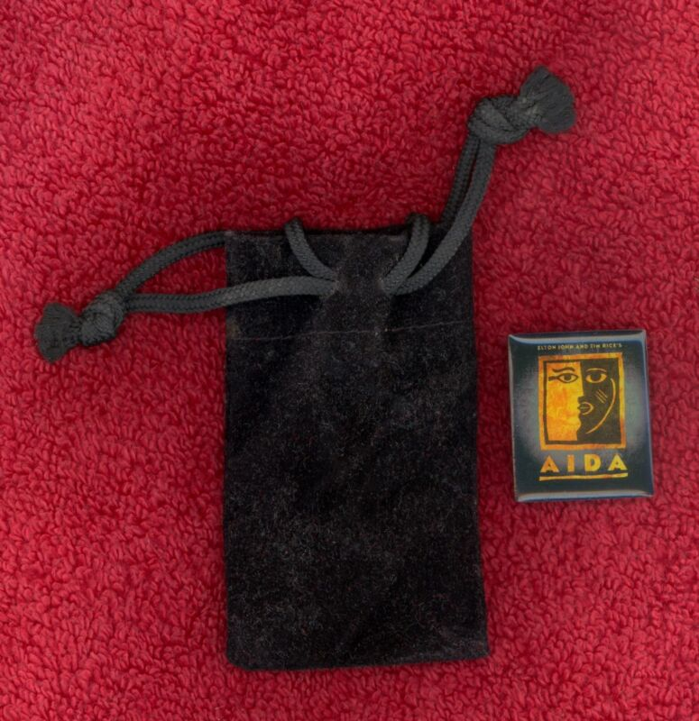 AIDA Logo Pin & Velveteen Storage Bag 2001 Elton John Tim Rice Broadway Musical