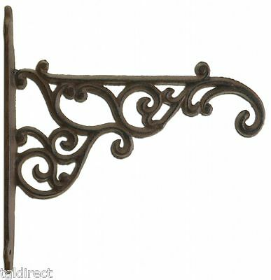 "Decorative Plant Hanger Ornate Victorian Cast Iron Flower Basket Hook 8.375"" N"