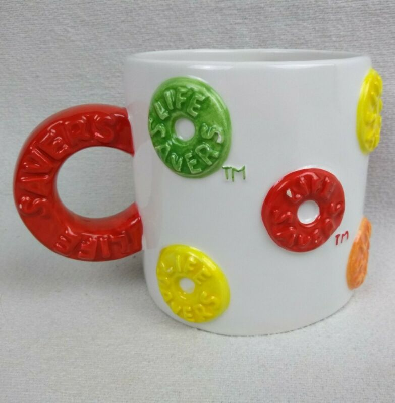 Life Savers Candy Mug Oversize Houston Harvest Colorful Ceramic Cup with Handle