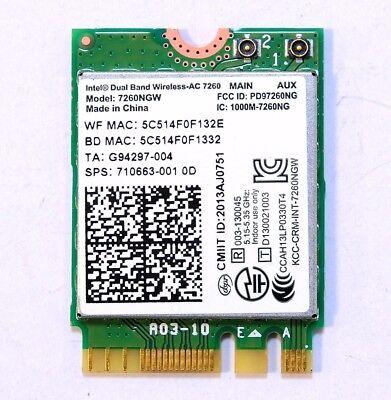 Intel 7260NGW Dual Band Wireless-AC 7260 802.11ac 2x2 WiFi and Bluetooth 4.0