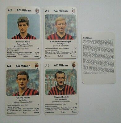 AC MILAN - Set of 5  - 1970 Dutch Europa-cup Kwartet game card  Ac Milan Game