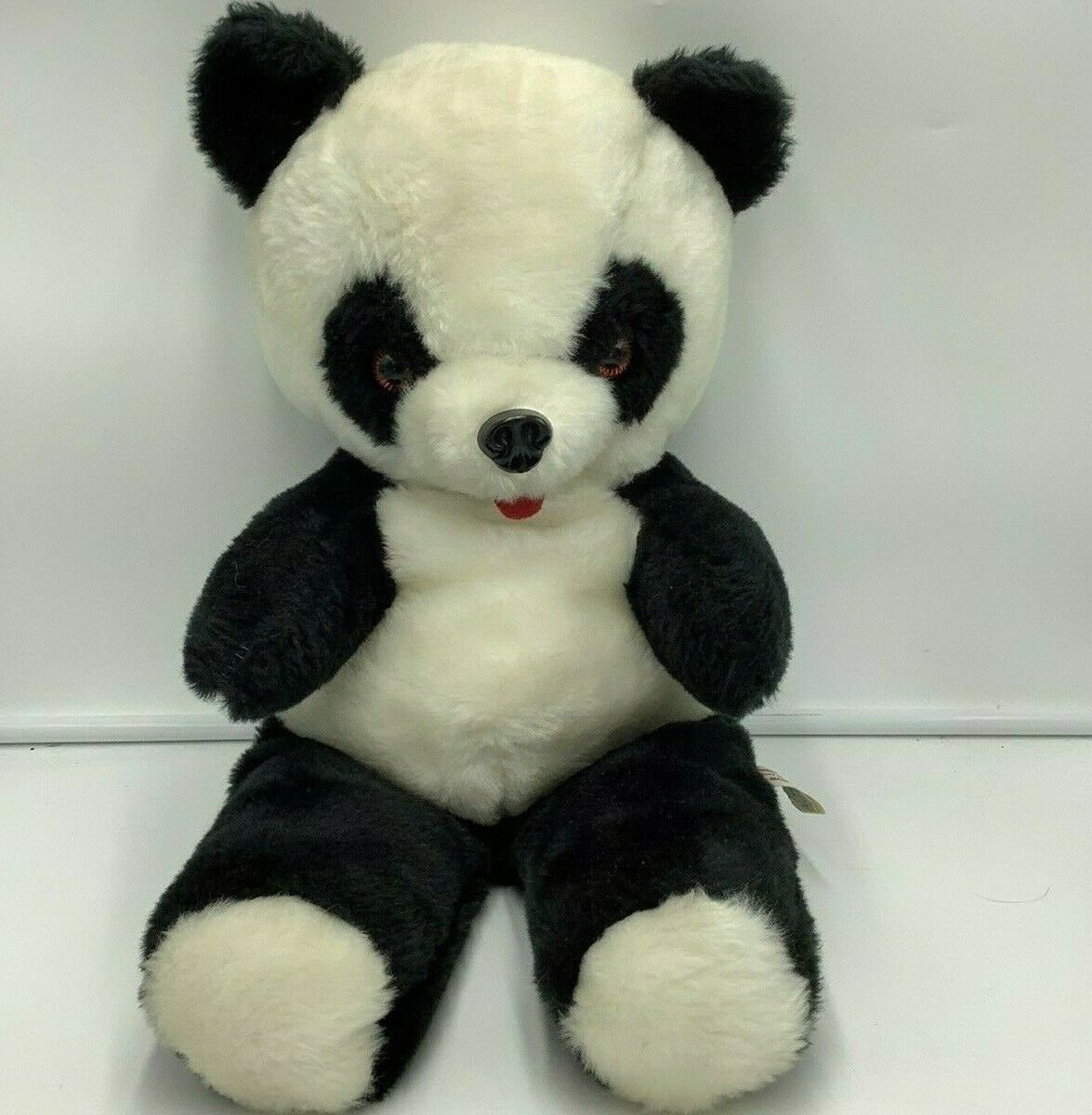 Happiness Aid By Well Made Black White Panda Bear Plush Vintage Stuffed 18""