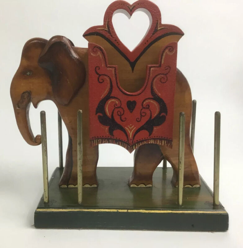 Vintage Wooden and Metal Card / Poker Chip Holder Elephant Painted Rare Unique