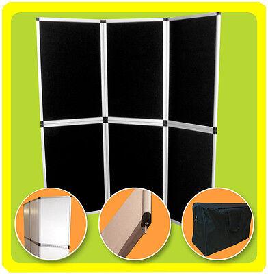 6 Folding 6 Panel Display Backdrop Trade Show Presentation Exhibit Booth Black