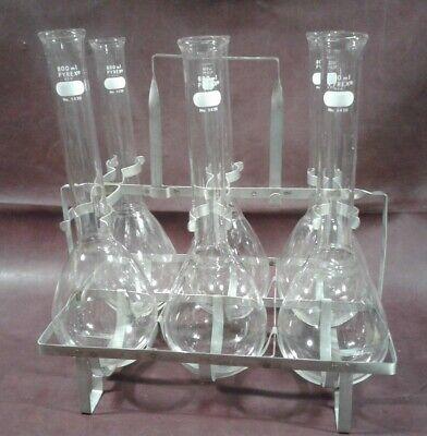 Lot Of 6 Pyrex 5420 800ml Flasks W Fisherbrand Kjeldahl Carrier 13-814-50
