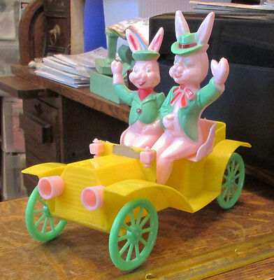 OLD VINTAGE HARD PLASTIC EASTER BUNNY RABBIT ROSBRO CAR JALOPY CANDY CONTAINER