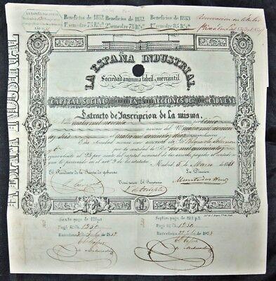 La Espagna Industrial SA, Aktie, Madrid 1851, uralt und dekorativ