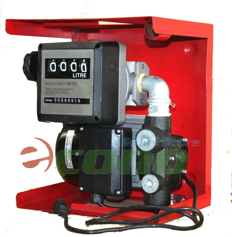 16GPM 110v Electric Oil Fuel Diesel Gas Transfer Pump W/ Mechanical Meter Gallon