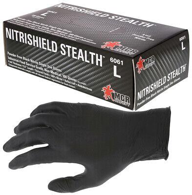 NitriShield Black Nitrile Powder Free Gloves 4 mil Industrial / Food Grade 100BX