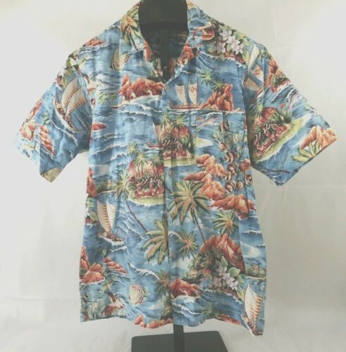 Vintage Beautiful Hawaii Shirt Size L Shirt Missing Care size Tag -Tropical Fish