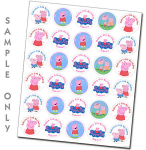 30 ct personalized Peppa Pig stickers labels party favors cupcake toppers tags