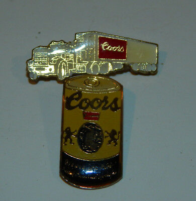 Vintage 1980's Coors Truck & Beer Can Shape Enamel Badge Lapel Pin