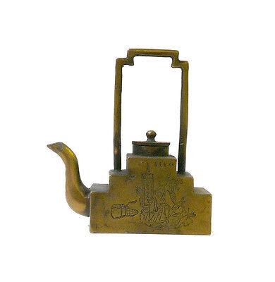 Chinese Bronze Metal Motif Engraving Teapot Display cs997-19
