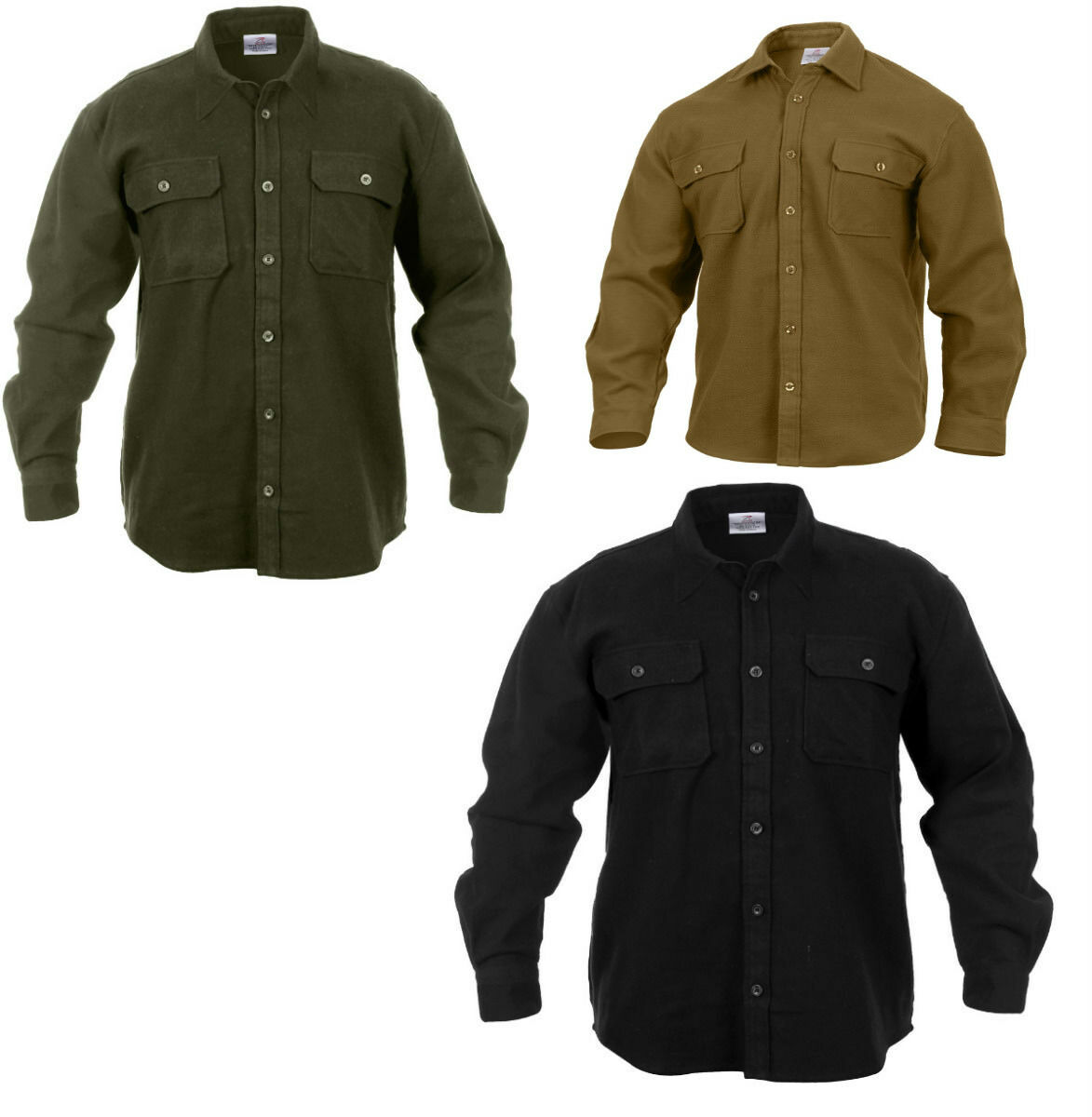 Long Sleeve Flannel Shirt Extra Heavyweight Solid Color Roth