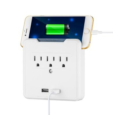3 Outlet Wall Tap Surge Protector w/ 2 USB Ports 300J with Phone - Outlet Phone Surge Protector