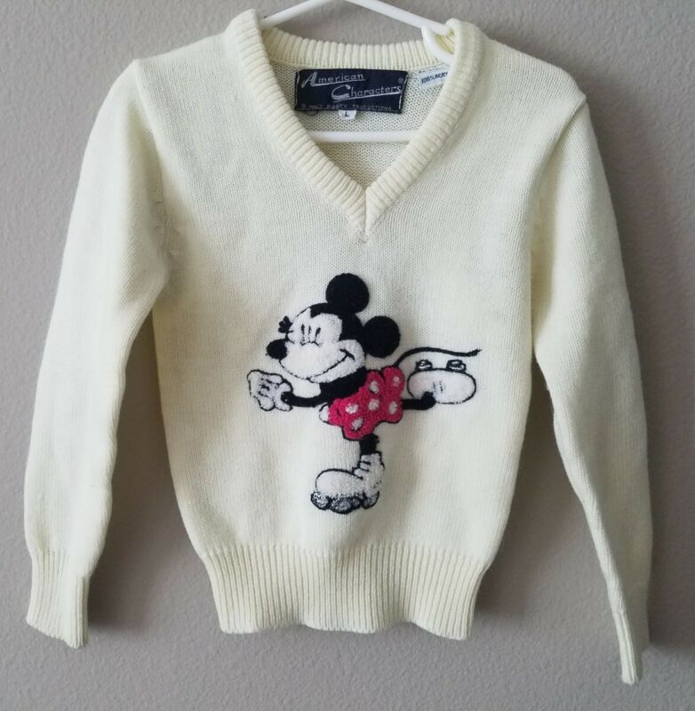 Vintage Minnie Mouse Ivory Sweater Pull On Girls Kids Size 5 Rare 60s 70s Disney