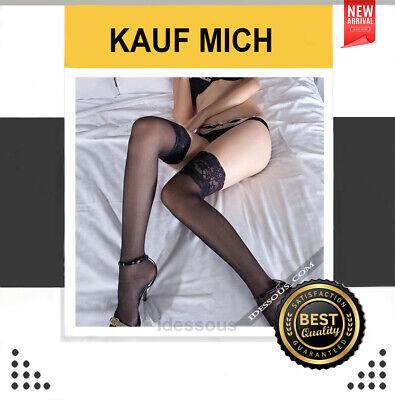 Sexy halterlose Strümpfe für Strapse Schwarz fein Spitze erotisch Nylons S M L
