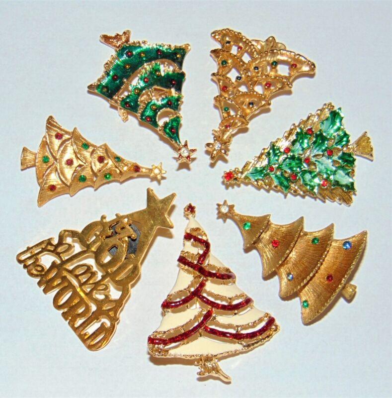 Christmas Tree Pin Lot 7 Vintage-Now Rhinestones Enamel Brooch FREE SHIPPING!