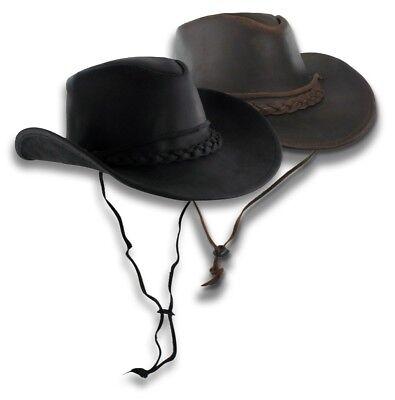 Distressed Brown Leather Outback Hat Aussie Western Cowboy Wide Brim S-XXL Mens ()