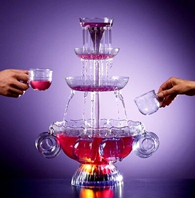 PARTY PUNCH FOUNTAIN CHAMPAGNE BEVERAGE LIGHTED SET FRIENDS GIFT GLASSES DRINK - Lighted Punch Fountain