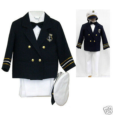Navy Baby Boy Toddler Costume Nautical Captain Sailor Suit Hat White Pants 1-7