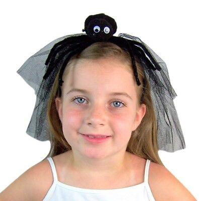 Needzo Black Spider Headband with Veil Kid's Halloween Accessories, 4 1/2 - Halloween Spider Headband