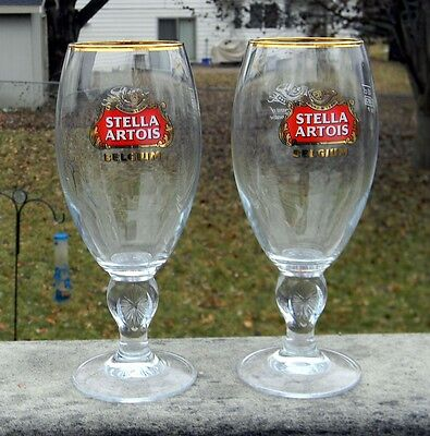 2 NEW STELLA ARTOIS BELGIUM BEER GLASSES GOLD RIMMED CHALICES 40 CL ANNO 1366