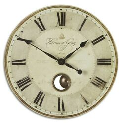 HARRISON EUROPEAN INSPIRED XXL 23 LAMINATED AGED FINISH ROUND WALL CLOCK
