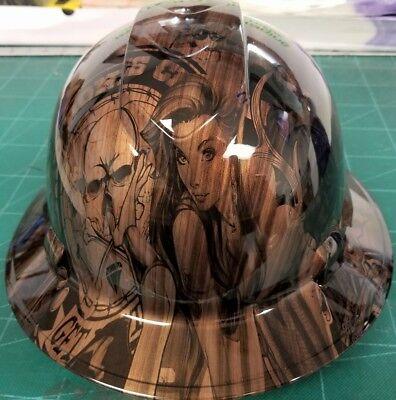FULL BRIM Hard Hat custom hydro dipped , NEW BURNISHED WOOD DOUBLE TAKE